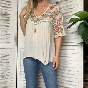 Anthropologie Ranna Gill embroidered top s small